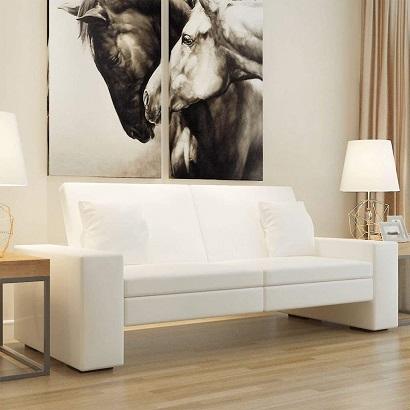 Sof cama blanco con respaldo reclinable barato sill n for Sofa cama individual barato