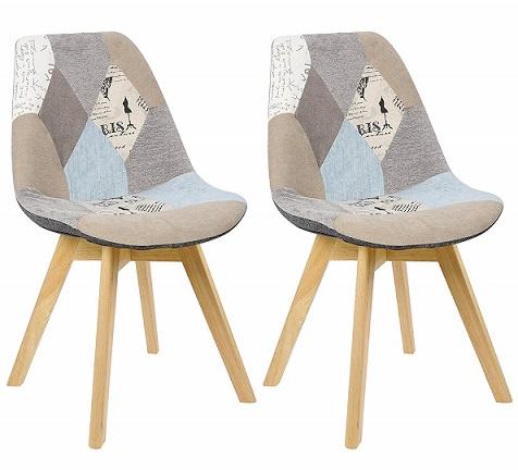 comprar sillas nordicas de madera patchwork precio barato online