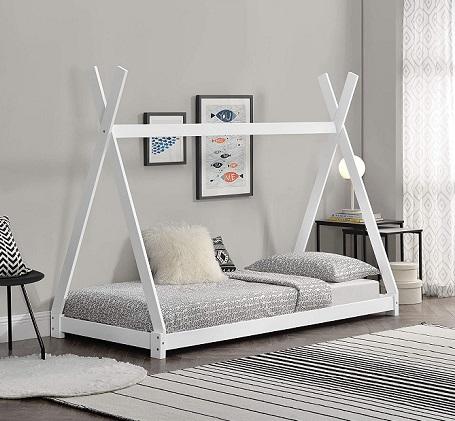 comprar cama individual dosel de madera precio barato online