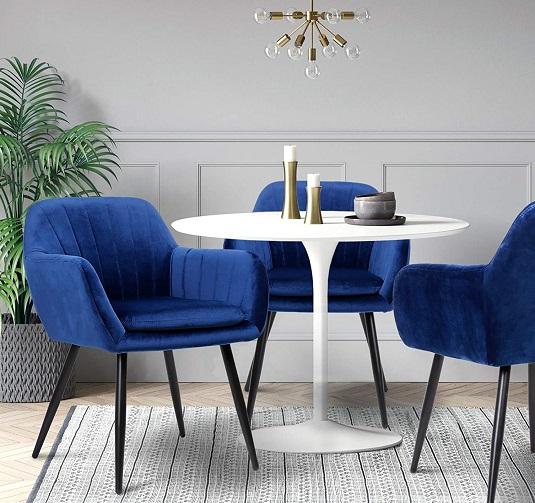 comprar sillas comedor terciopelo azul precio barato online