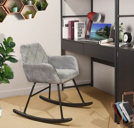 comprar silla mecedora terciopelo gris precio barato online