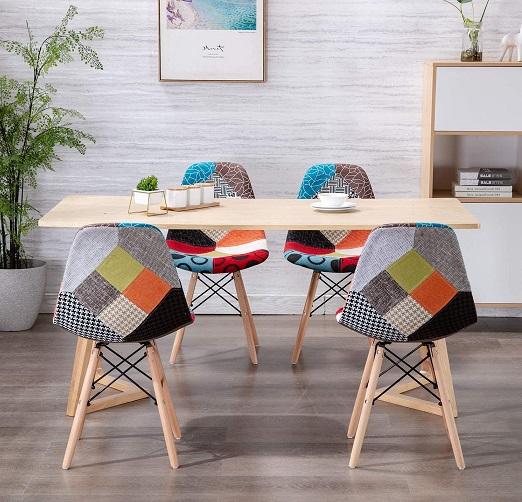 comprar sillas nordicas patchwork rojas precio barato online